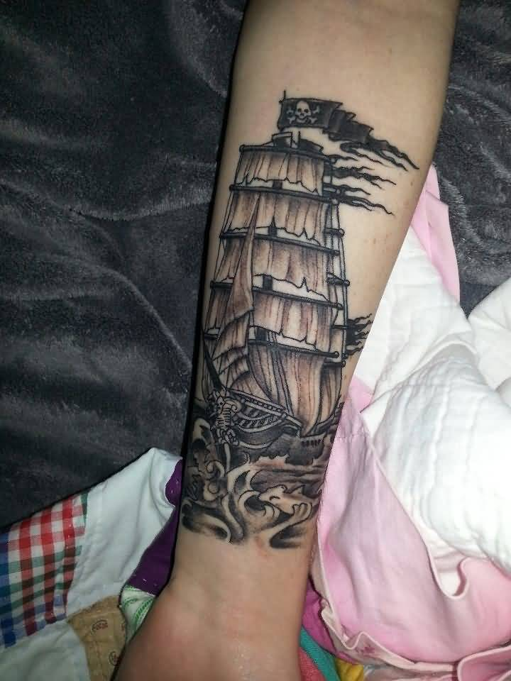 Lower Forearm Sleeve Jolly Roger Pirate Ship Tattoo Idea