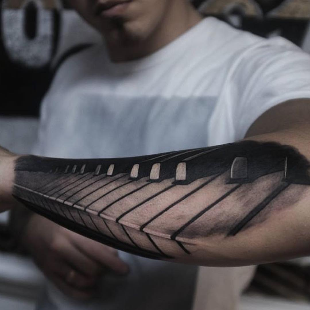 Lower Sleeve Awesome Piano Keys Tattoo Design