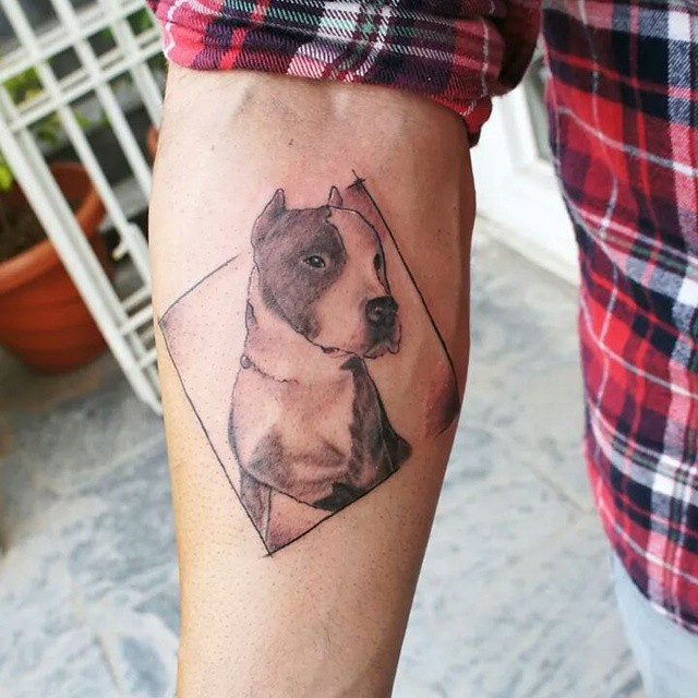 Lower Sleeve Awesome Pitbull Dog Tattoo Design