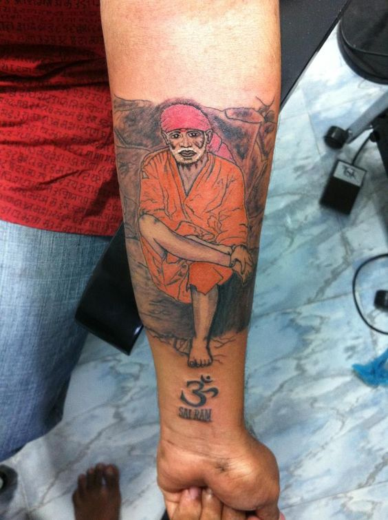 Lower Sleeve Awesome Sai Baba With Om Symbol Tattoo