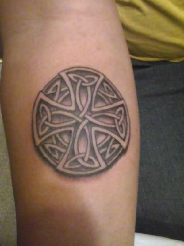 Lower Sleeve Cross Circular Celtic Knot Tattoo