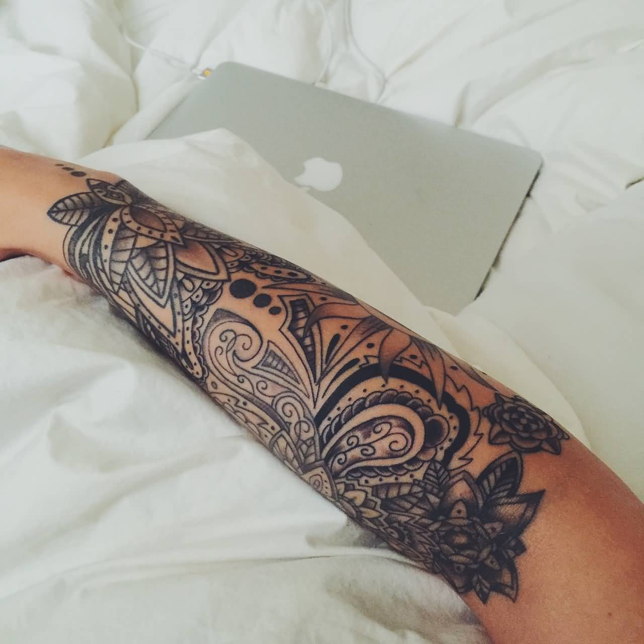 Lower Sleeve Design With Paisley Pattern Tattoo Idea