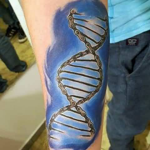 Lower Sleeve Fantastic Chain Science DNA Tattoo For Men