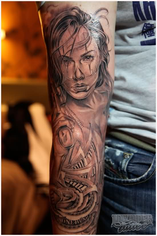 Lower Sleeve Gangsta Latino Girl Face Tattoo