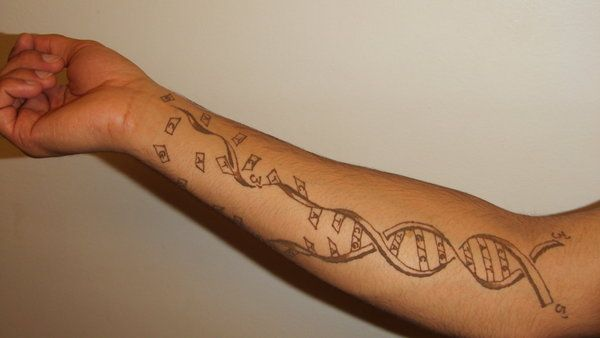 Lower Sleeve Nice Broken Science DNA Tattoo By Sansanana