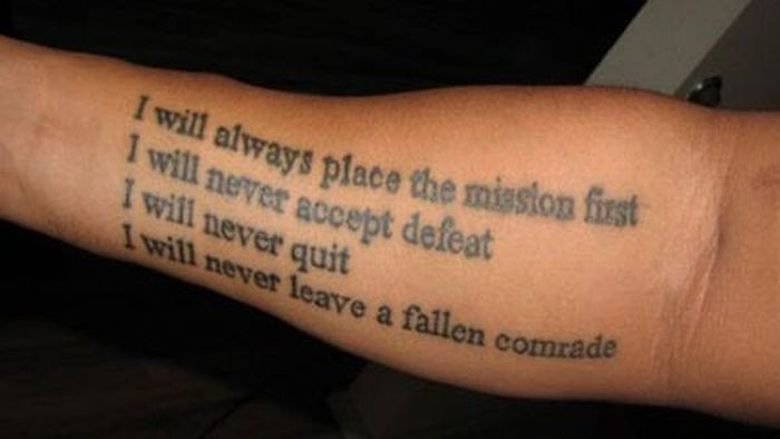 Lower Sleeve Nice Famous And Inspirational Army Poem Tattoo