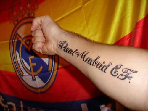 Lower Sleeve Nice Real Madrid CF Words Tattoo