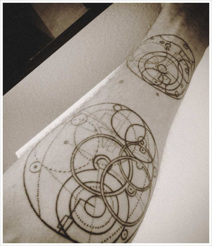 Lower Sleeve Nice Science Related Circles Tattoo