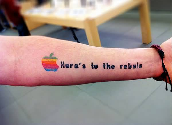 Lower Sleeve Nice Text With All Color Apple Logo Tattoo