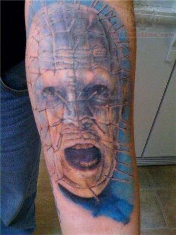 Lower Sleeve Pinhead Angry Face Tattoo
