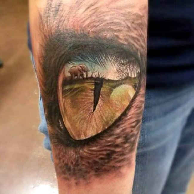 Lower Sleeve Reptile Animal Eye Tattoo