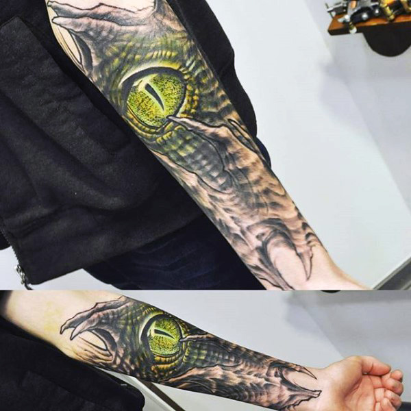 Lower Sleeve Reptile Snake Eye Tattoo