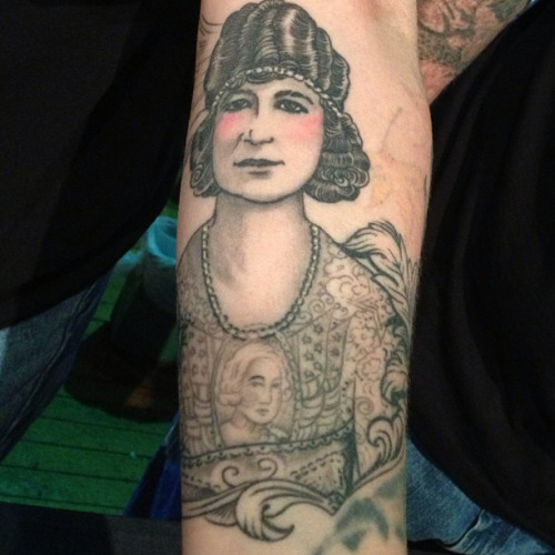 Lower Sleeve Simple Historical Girl Tattoo