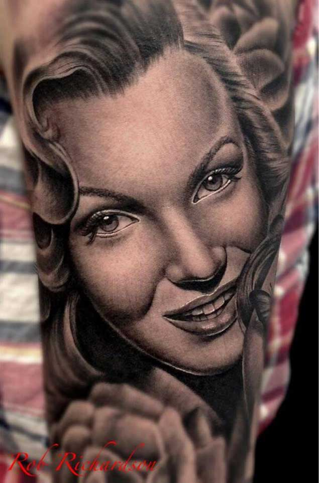 Lower Sleeve Wonderful Marilyn Monroe Portrait Face Tattoo Design Idea