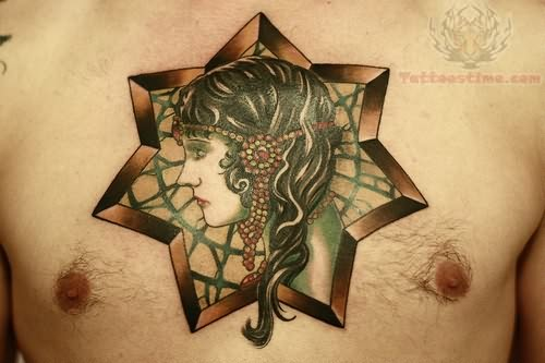 MEn Chest Cover Up With Simple Pagan Star Girl Face Tattoo