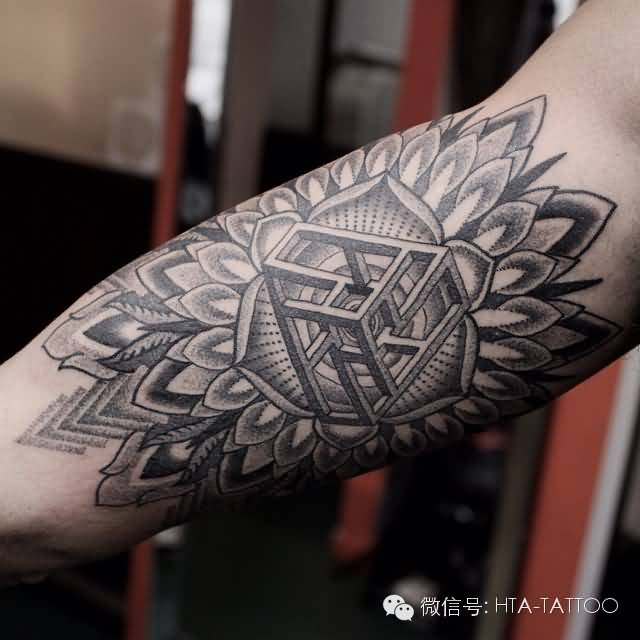 Mandala Flower With Nice Escher Cube Tattoo For Sleeve