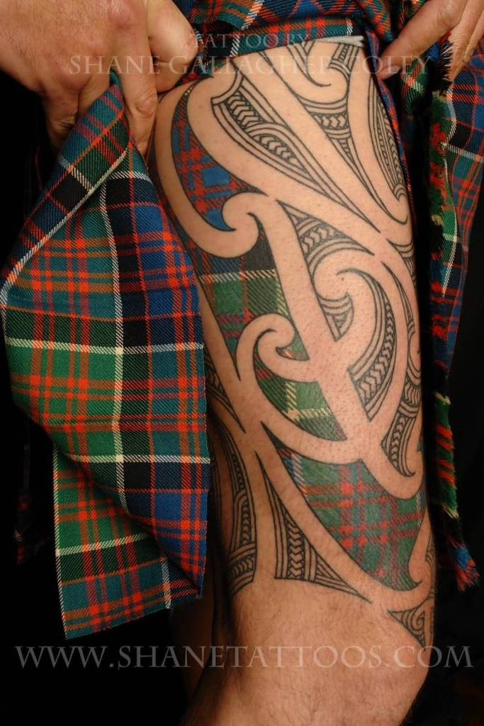 Maori Scottish Tartan Tattoo Design For Right Thigh
