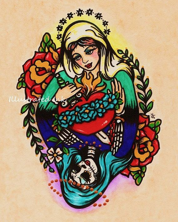 Mary Day Of The Dead Old School Tattoo Design Stencil
