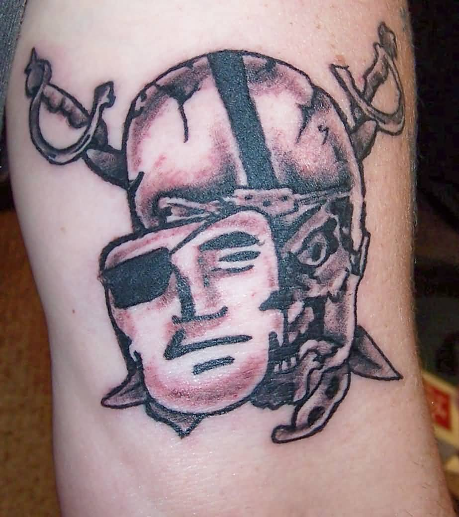 Mask And Skull Oakland Raiders Logo Tattoo