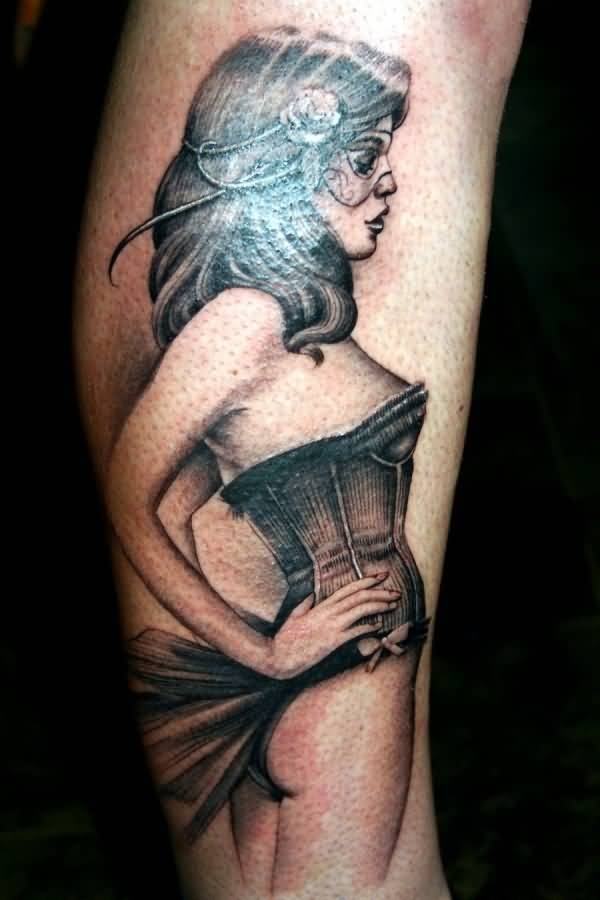Masked Pin Up Girl Tattoo Design