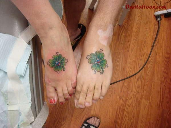 Matching Simple Shamrock Tattoo Design For Foot