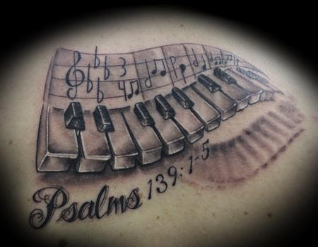 Memorable Date With Name Piano Keys Tattoo