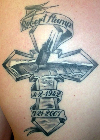 Memorable Dates And Banner Navy Cross Tattoo On Upper Back