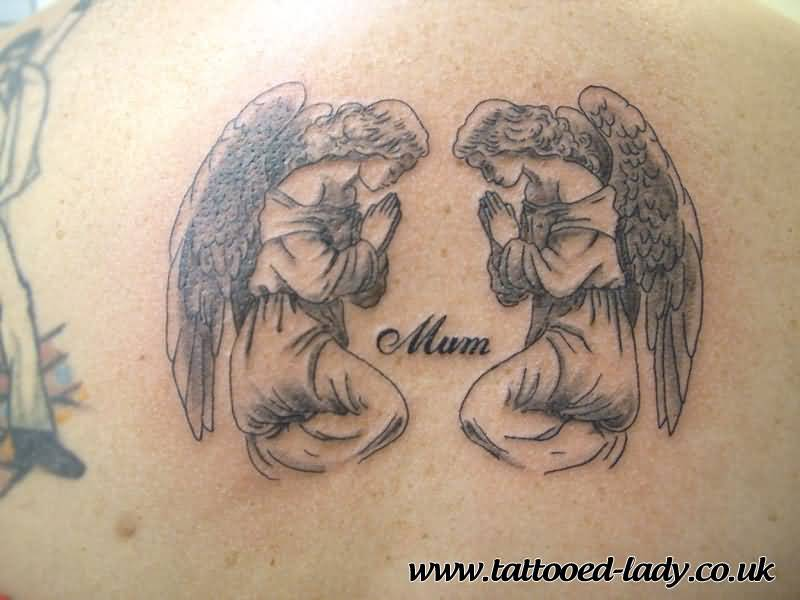 Memorable Grey Ink Praying Angel Tattoo Design For Sweet Mother