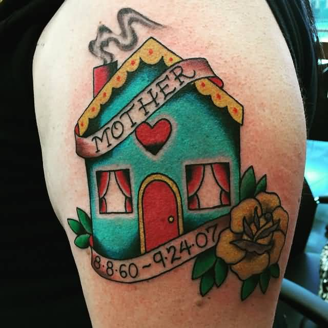Memorial Date With Mother Banner And House Tattoo