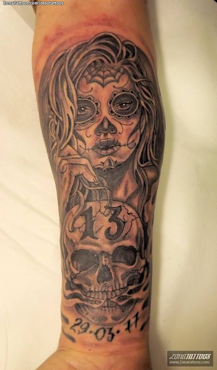 Memorial Date With Nice Catrina And Skull Tattoo On Forearm