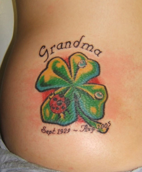 Memorial Date With Nice Shamrock Clover And Lady Bug Tattoo With Text