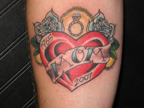Memorial Date With Simple Heart Mom Banner Tattoo