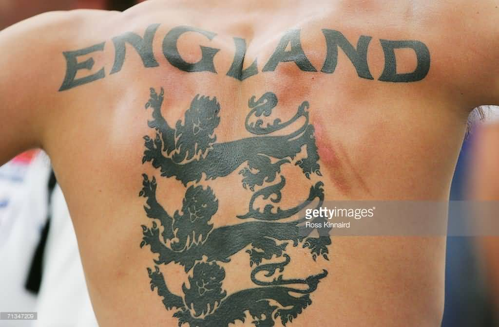 Men Back England Football Team Logo And Text Tattoo