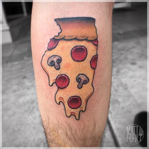 Men Back Leg Slice Pizza Tattoo