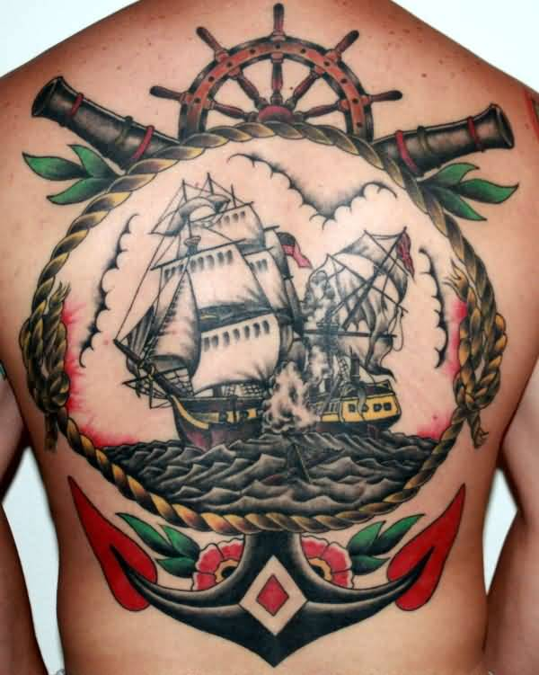 Men Back Nice Big Anchor Old School Pirate Ship Tattoo
