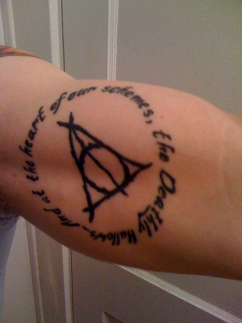Men Bicep Amazing Deathly Hallows Tattoo With Letters
