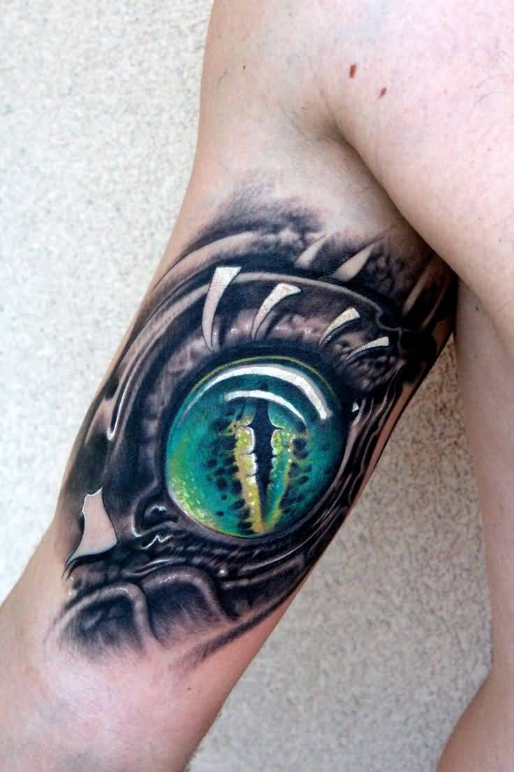 Men Bicep Awesome And Dangerous Reptile Eye Tattoo