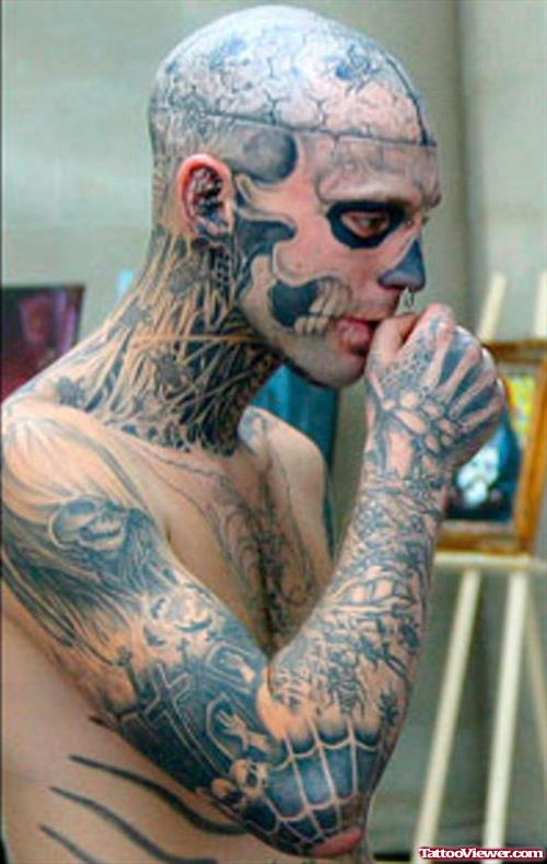 Men Body Amazing Scary Extreme Zombie Tattoo