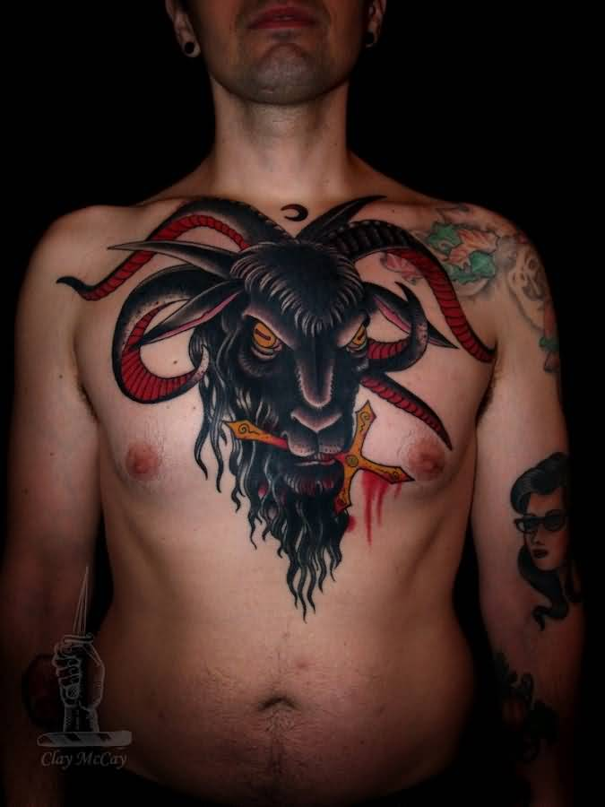 Men Chest Amazing Satan Head Tattoo