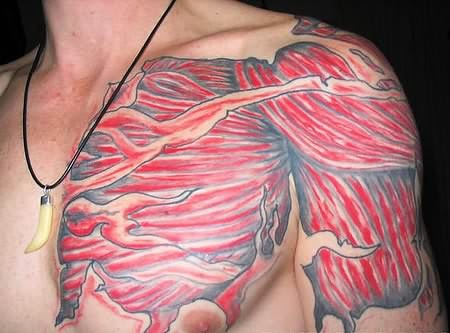 Men Chest And Chest With Muscles Tattoo