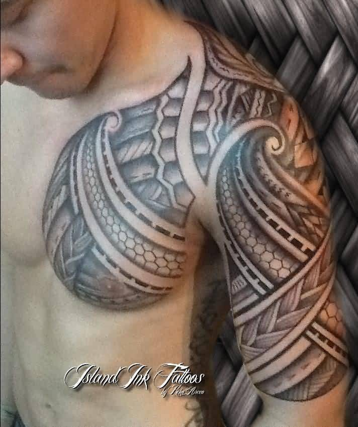 Men Chest And Half Sleeve Hawaiian Polynesian Tribal Filipino Tattoo