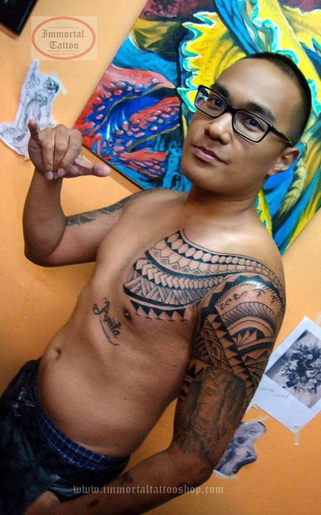 Men Chest And Half Sleeve Nice Filipino Religious Saint Mary God Face Tattoo