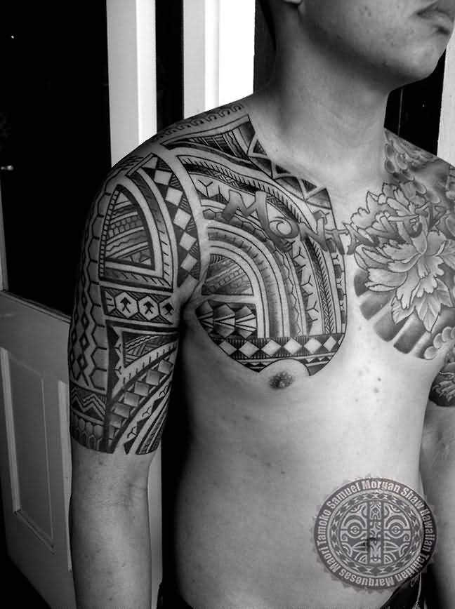 Men Chest And Half Sleeve Nice Filipino Tattoo