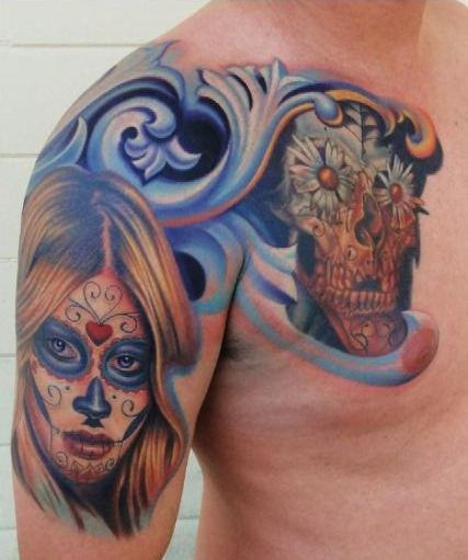 Men Chest And Half Sleeve Nice Latino Girl And Skull Tattoo