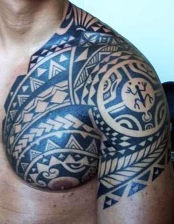 Men Chest And Half Sleeve Samoan Tattoo (4)