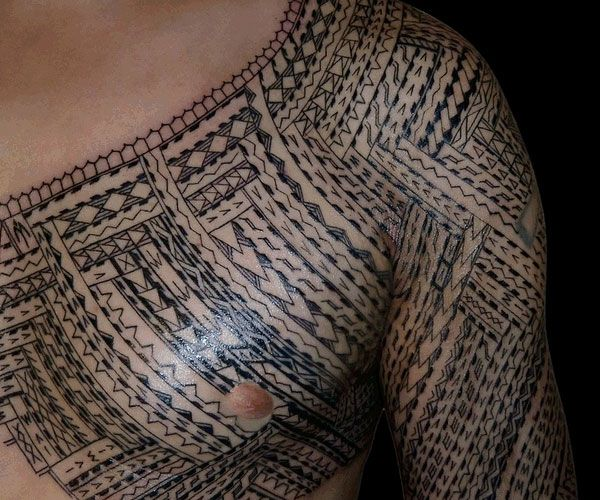 Men Chest And Half Sleeve Samoan Tattoo