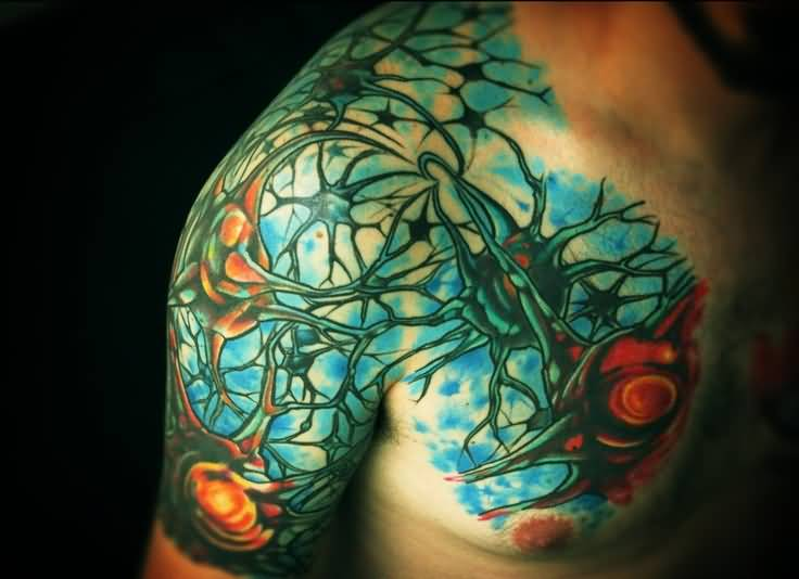 Men Chest And Sleeve Colorful Neuron Cell Science Tattoo