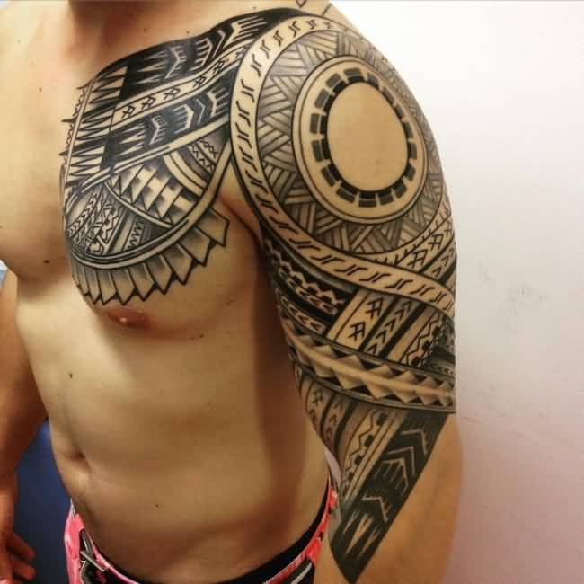 Men Chest And Sleeve Samoan Tattoo