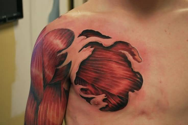 Men Chest And Sleeve With Ripped Skin Muscles Tattoo