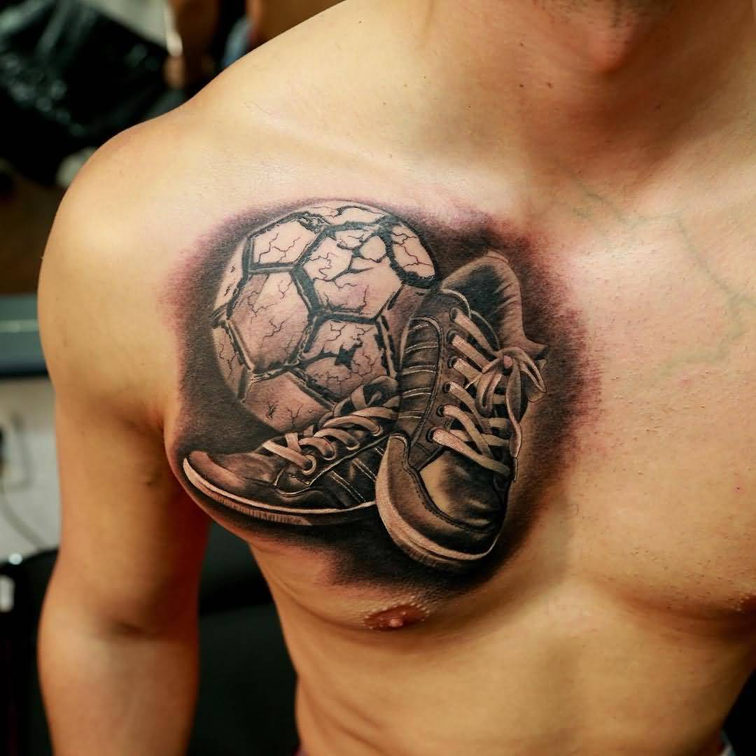 Men Chest Awesome And Nice Shoes Football Tattoo